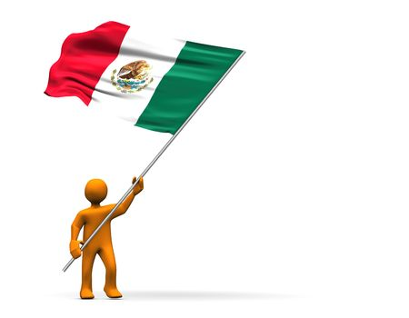 Illustration looks a fan with a big flag of Mexico. Stock Illustration - 7139731