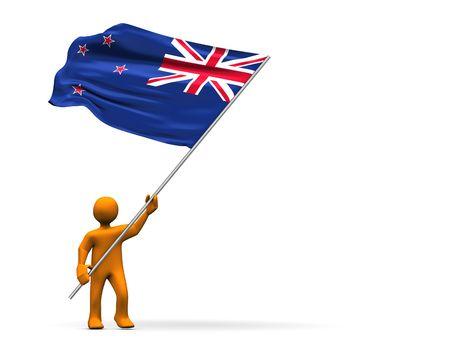 aotearoa: Illustration looks a fan with a big flag of New Zealand.