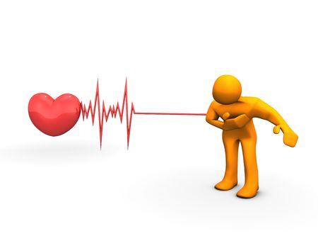 hartaanval: In de afbeelding ziet er een oranje humanoïde persoon met een hart aanval.
