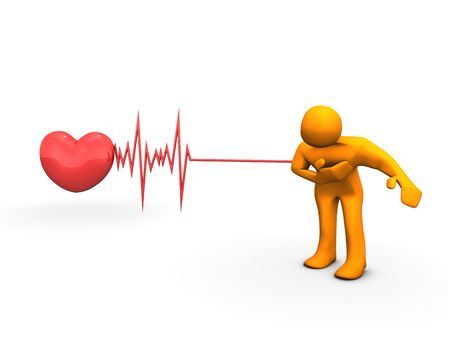 heart attacks: The illustration looks a orange humanoid person with a heart attack. Stock Photo