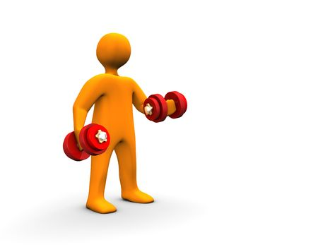 3d illustration looks a humanoid with barbell in the hands. illustration