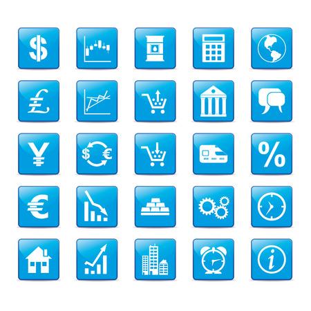 rekenmachine: Icon set in blauwe stijl voor markten.