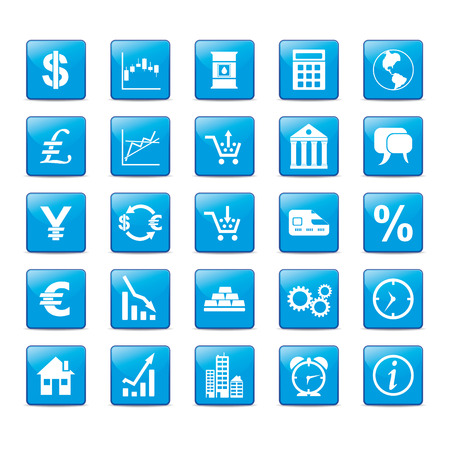 commodities: Icon set in blue style for markets. Illustration