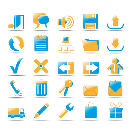 Icons for web in orange und blue style design. Vector