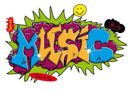 grafiti: Graffiti street art design with word  Illustration