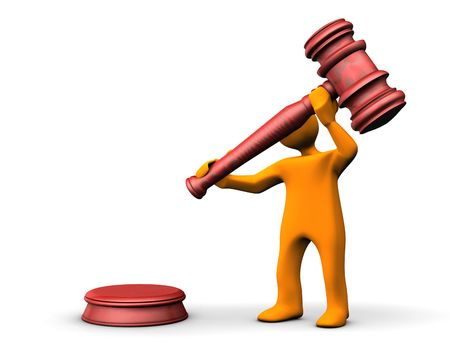 juge marteau: Orange caricature avec un marteau juge sur le fond blanc. Banque d'images