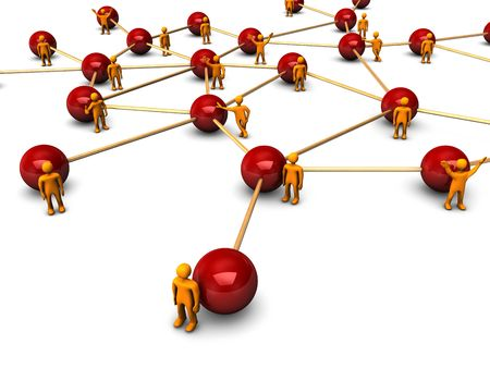 programme: Abstractly rendering of the social network with funny orange persons, on the white background. Stock Photo
