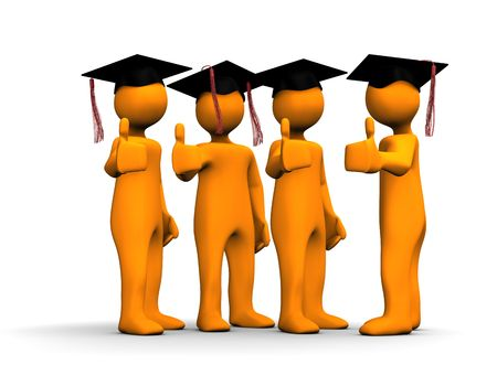masters degree: Orange cartoons with a positive symbol on the white background.