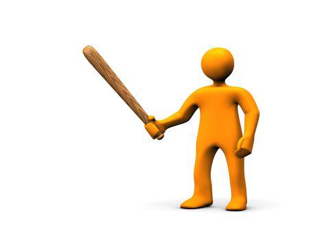 rowdy: Orange cartoon rowdy with a baseball bat in the hand. Stock Photo