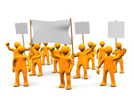 Many orange cartoons during the demonstration.