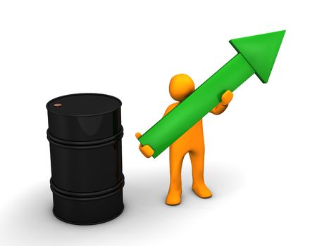 brent crude: Orange cartoon with a green arrow and barrel of oil on the white. Stock Photo