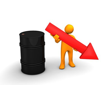ex: Orange cartoon with a red arrow and barrel of oil on the white. Stock Photo