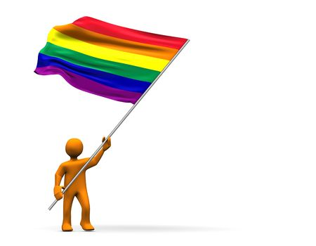 Fan with homosexual flag isolated on white. photo