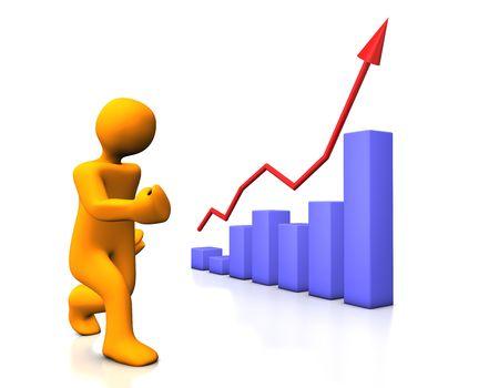 stockmarket chart: Orange funny cartoon and blue diagram isolated on white.