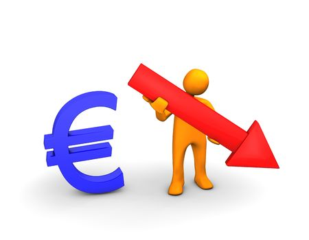 ex: Orange cartoon with symbol of european currency and with red arrow isolated on white.