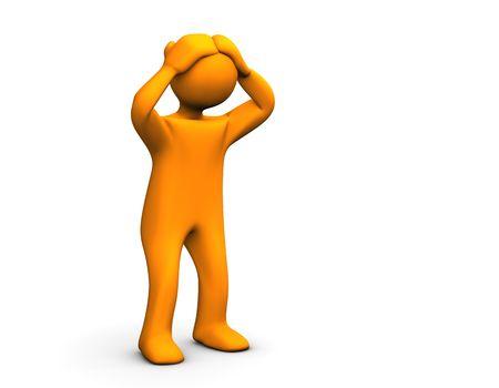 exasperation: Orange sadly cartoon isolated on white.