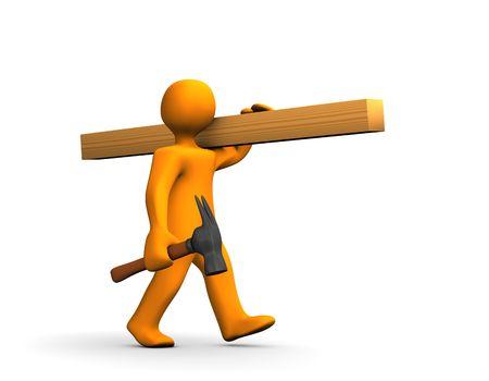 Orange Cartoon Carpenter mit einem Hammer und den Holzgerümpel isolated on White.