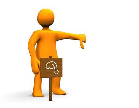 impotent: Orange impotent cartoon isolated on white background.