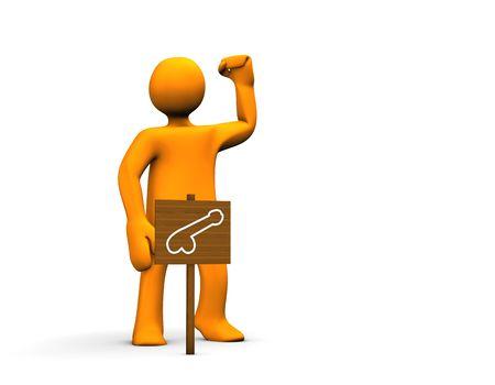 erection: Orange potent cartoon isolated on white background.
