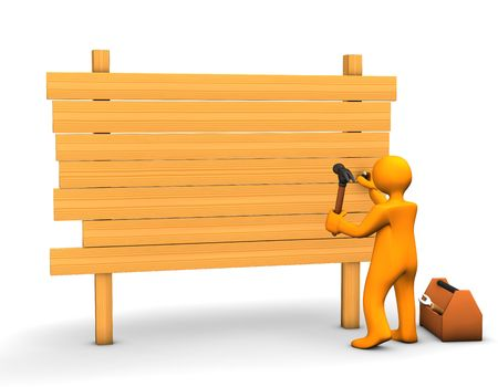 building trade: Orange cartoon carpenter with a hammer and lumber isolated on white.