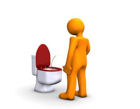 tinkle: Orange cartoon on the toilet isolated on white. Stock Photo