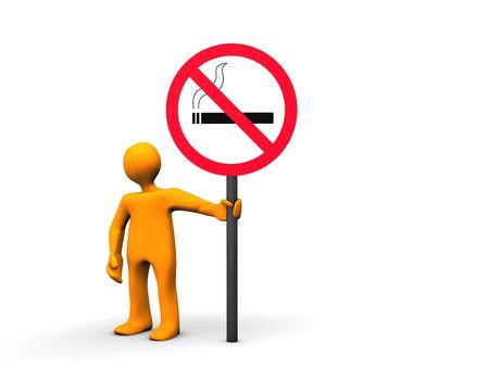 Orange cartoon with no smoking sign isolated on white. Stock Photo - 8257029