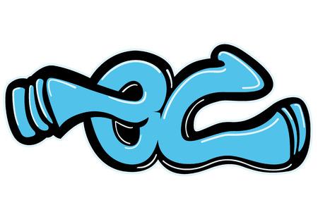 Graffiti kunst design op de witte achtergrond. Stock Illustratie