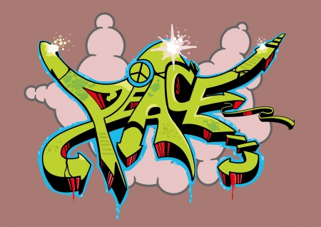 aerosol can: Abstract multi colored graffiti design with text peace.