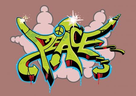 Abstracte multi gekleurde graffiti ontwerp met tekst vrede.