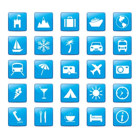 travel icons: Icon set in blue style for holidays.