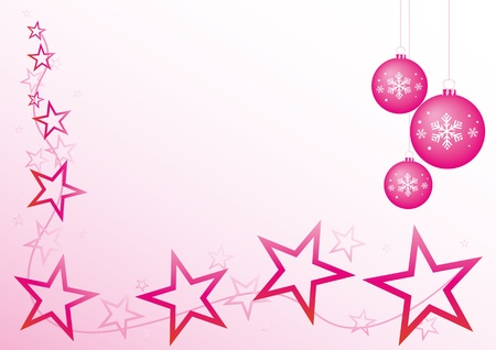 Pink christmas design with stars and baubles. photo