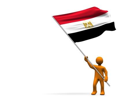 cartoon egyptian: Illustration looks a fan with a big flag of Egypt