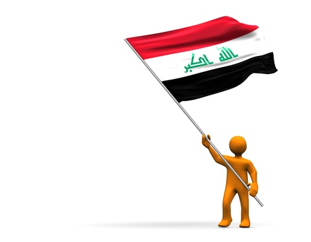 Illustration looks a fan with a big flag of Iraq. illustration
