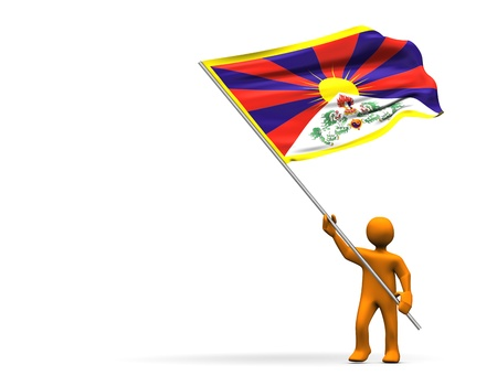 Illustration looks a fan with a big flag of Tibet Stock fotó