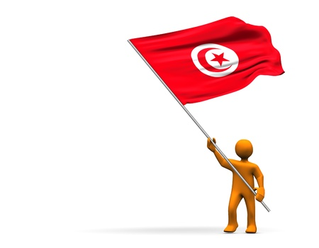 Illustration looks a fan with a big flag of Tunisia