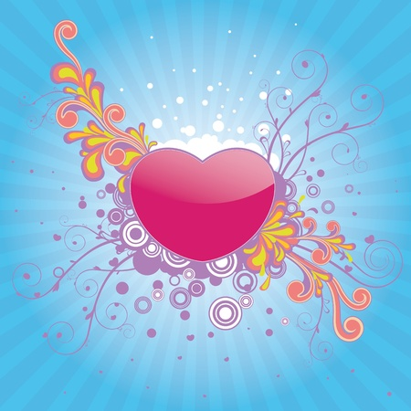 Funky multi colored design with swirls for valentine. Stock Photo - 8761097