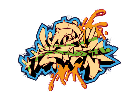 graffiti wall: Graffiti vector sketch design, word STORM. This is my illustration.