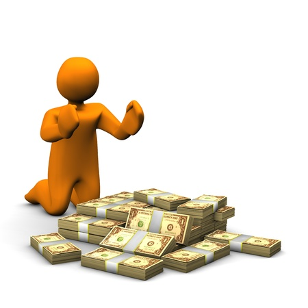 mucho dinero: Orange dibujos animados con un mont�n de dinero aislado en blanco.