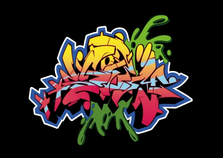hiphop: Graffiti sketch, word STORM, isolated on black.