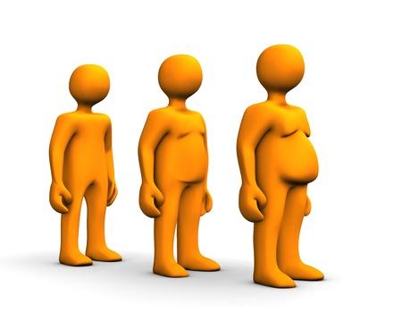 Orange fat cartoon on scale, isolated on white photo