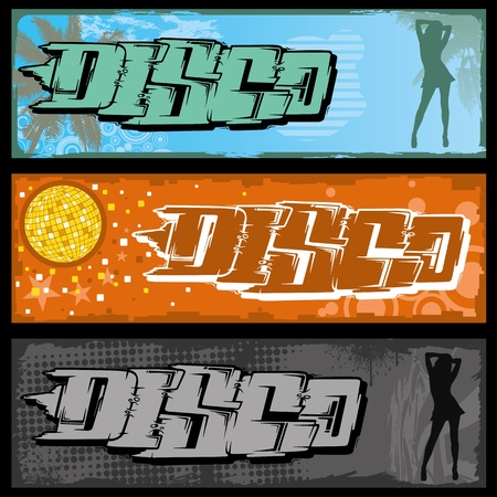 Set of three graffiti banners. Vector
