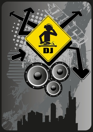 Grunge design style for your disco or party flyer. Vector