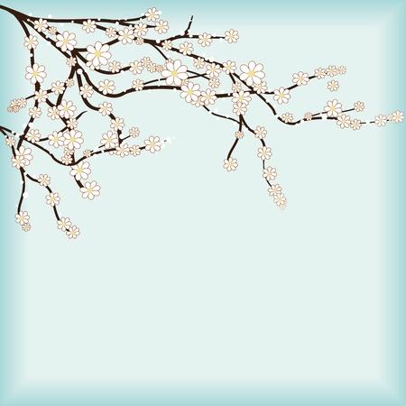 blossoming: Retro design cover for cherry flowers fest.