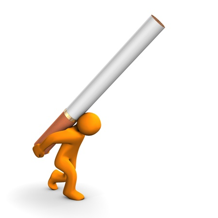 strain: Orange cartoon with a big cigarette, isolated on white. Stock Photo