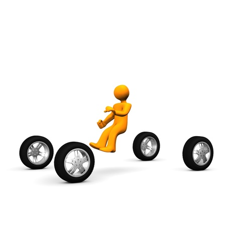 Abstractly illustration of man who driving a car. Stock Illustration - 9579017