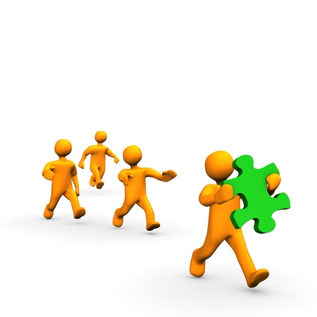 Orange cartoon has stolen a puzzle and running away. Stock Photo - 9818185