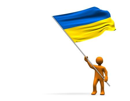 Orange cartoon with a big flag of Ukraine, isolated on white.