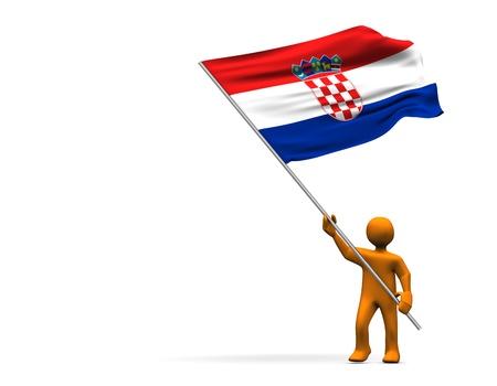 Orange cartoon with a big flag of Croatia, isolated on white. photo