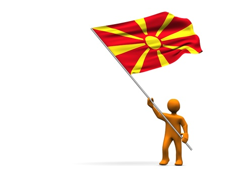 Orange cartoon with a big flag of Macedonia, isolated on white.