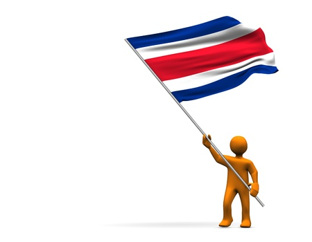 Orange cartoon with a big flag of Costa Rica, isolated on white. photo